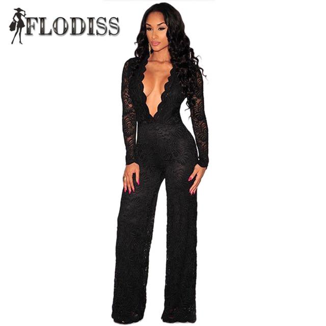FLODISS 2017 Новая Мода Комбинезоны Женщины Элегантный Черный Боди Sexy Глубокий V Шеи Длинным Рукавом Кружева Комбинезон Моно Ларго Mujer