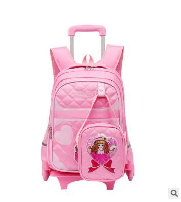 Колесные сумки для девочек детский Багаж подвижного мешки школьный рюкзак сумка тележка с колесами девушки Тележка Школьные mochila