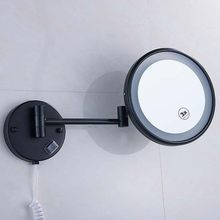 "Brass LED Lamp Mirror For Bathroom 8"" Round Single Sides 1X/3X/5X Bathroom Cosmetic Wall Mount Magnifying Mirror E(China)"