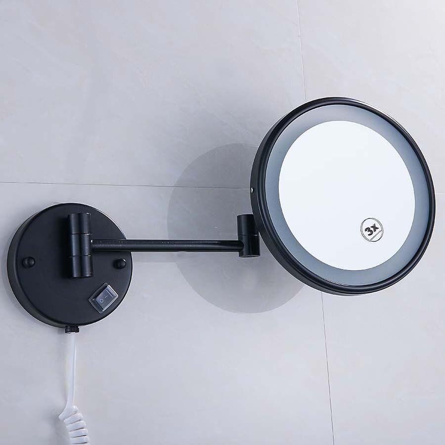 Laiton LED Lampe Miroir Pour Salle De Bains 8 Rond Côtés Simples 1X/3X/5X Salle De Bains Cosmétique Support Mural miroir grossissant E