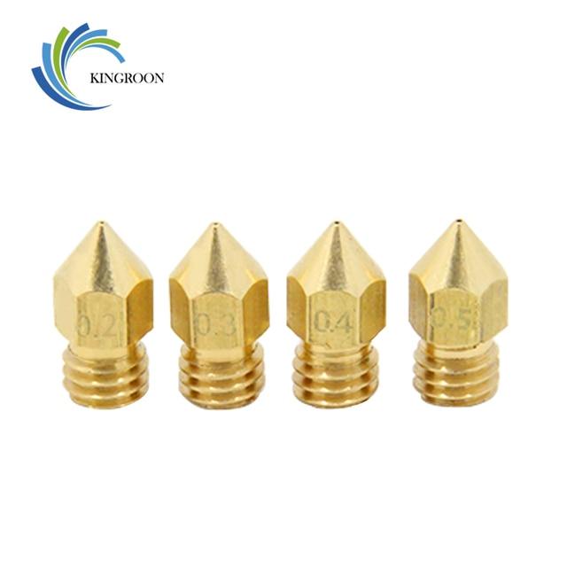 MK7 MK8 หัวฉีด 0.4 มิลลิเมตร 0.3 มิลลิเมตร 0.2 มิลลิเมตร 0.5 มิลลิเมตรทองแดง 3D เครื่องพิมพ์ชิ้นส่วน Extruder เกลียว 1.75 มิลลิเมตร 3.0 มิลลิเมตร Filament หัวทองเหลืองหัวฉีด Part