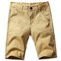 До Колен мужские сплошной цвет хлопка случайные шорты Новый летний Мужской slim с коротким брюки 28-38
