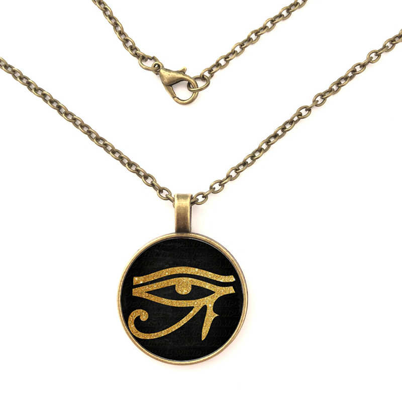 2019 Ancient Egyptian Eye of Horus Eye of Ra Symbol Glass necklace Statement Silver Pendant necklace Women Dress Accessories