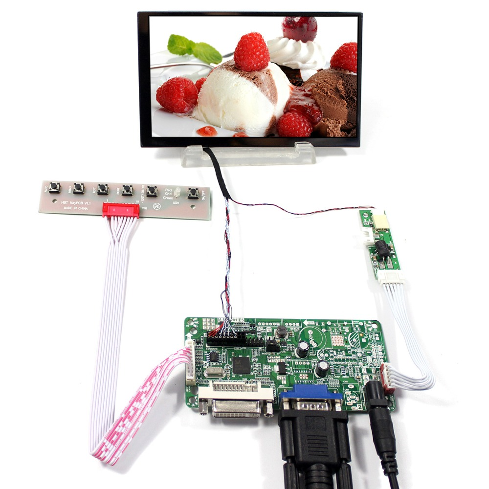 DVI VGA LCD Controller Board With 5.6inch LTD056ET3A 1024x600 LCD Screen 8 4 8industrial control monitoring machines non touch screen vga dvi interface metal shell embedded lcd monitor800 600
