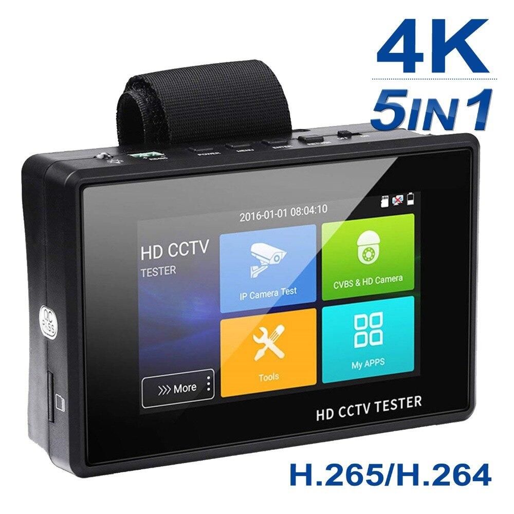 цена на Anpviz 4 Inch 4K H.265 IP/CVBS/CVI/TVI/AHD 5-in-1 CCTV IP Camera Tester Monitor 5MP Analog Camera Testing PTZ UTP Cable Tester