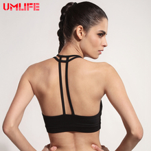 UMLIFE Sexy Sports Bra Women Spaghetti Straps Backless Yoga Bra Gym Running Crop Tank Tops Padded