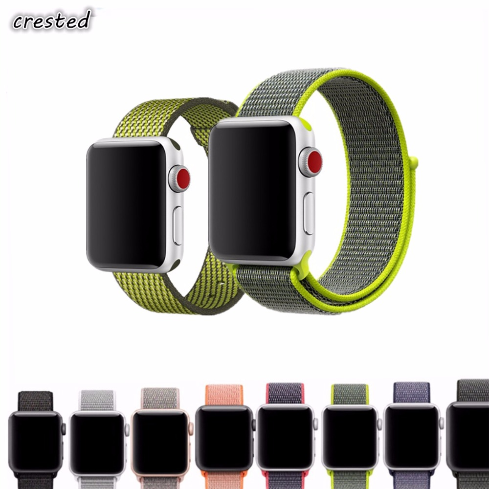 CRESTED sport loop strap for apple watch band 42mm 38mm for iwatch 3/2/1 woven nylon wrist braclet belt fabric-like nylon band