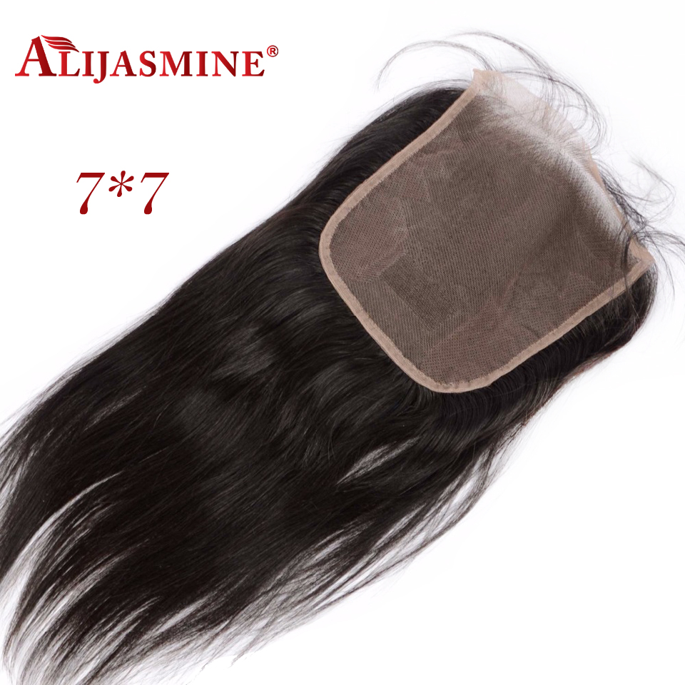 7x7 Lace Closure Bleached Knots Straight Lace Closure Free Part Natural Color Brazilian Remy Hair Closure