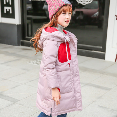 ФОТО Jacket Girl Casual Children Parka Winter Coat Duck Long Section Down Thick Fur Hooded Kids Winter Jacket For Girls Outerwear