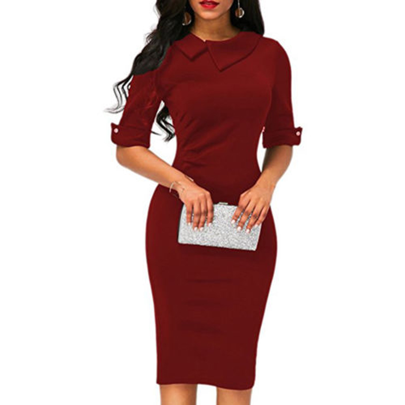 Women-Bandage-Bodycon-Half-Sleeve-Evening-Party-Work-Office-Midi-Dress (3)