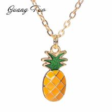 N125 New Fashion Pineapple Necklace Simple Gold Chain Cute Sweet Necklace for Women Girl Short Necklaces Jewelry Birthday Gift(China)