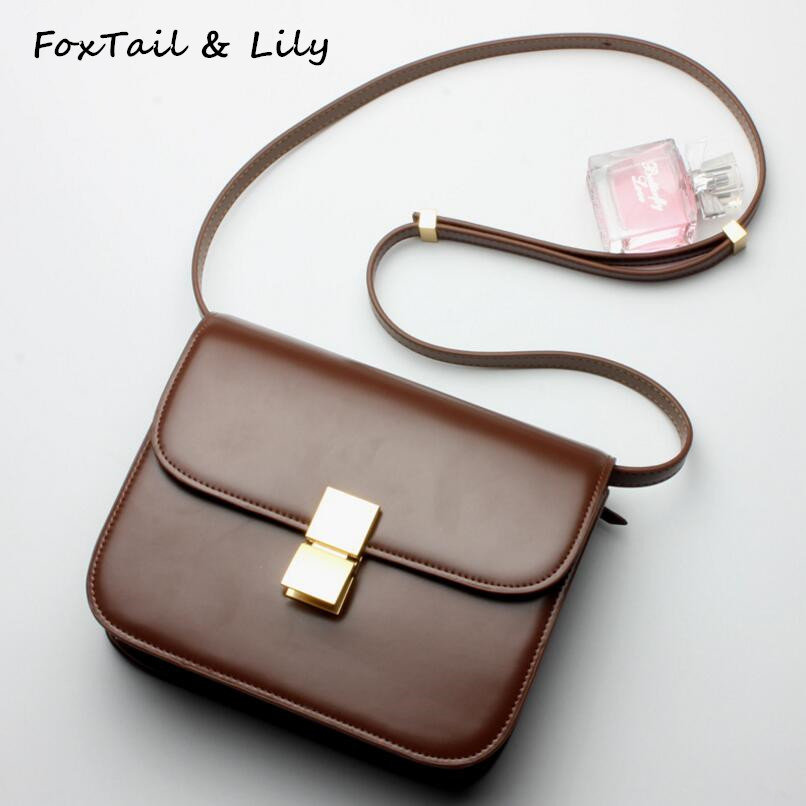 FoxTail & Lily Famous Designer Genuine Leather Ladies Small Box Bags New Fashion Shoulder Messenger Bag Women Leather Handbags women genuine leather handbags 2016 summer new fashion vintage ladies small box bag face red lips printing shoulder bag