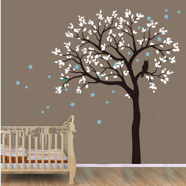 200x230cm Owl Hoot Stars big size large Tree Wall Stickers home decor Vinyl mural Decal removable for Kids room Nursery