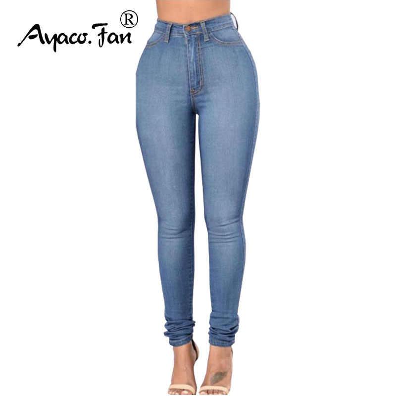 22b364dfa7d Джинсы для Для женщин джинсы синие Высокая Талия Джинсы женские высокие  эластичные большие размеры Для женщин
