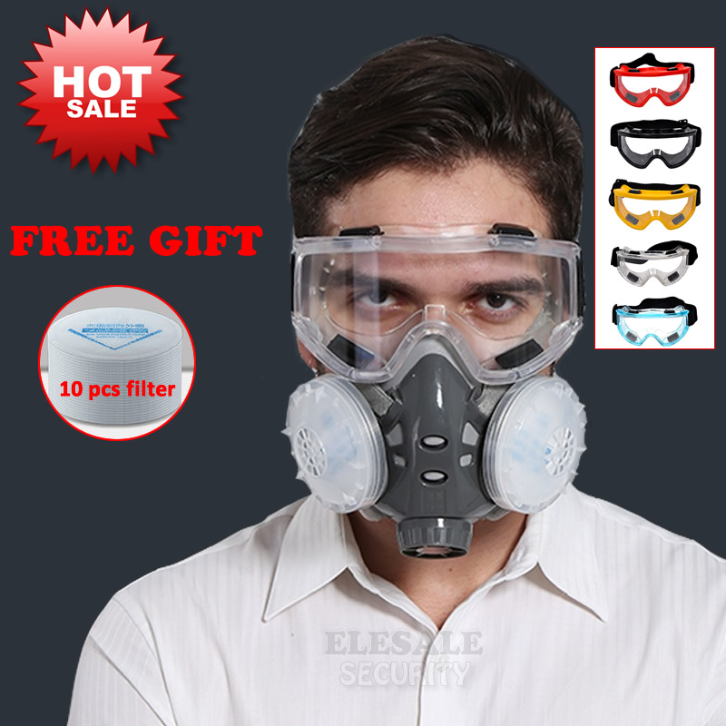 New Dust Mask Respirator Dual Filter Half Face Mask With Safety Glasses For Carpenter Builder Polishing Dust-proof +10 Filters