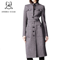 Wool coat women manteau femme sexy winter coats cashmere wool ankle length coats OL office trench woollen women long overcoat