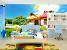 Custom Photo Mural Wallpaper For Kids Room 3D Cartoon Mushroom Room Children Bedroom Home Decor Wall Painting Papel De Parede 3D custom cars painting a large mural 3d wallpaper cartoon city theme children s room bedroom 3d wallpaper backdrop videos