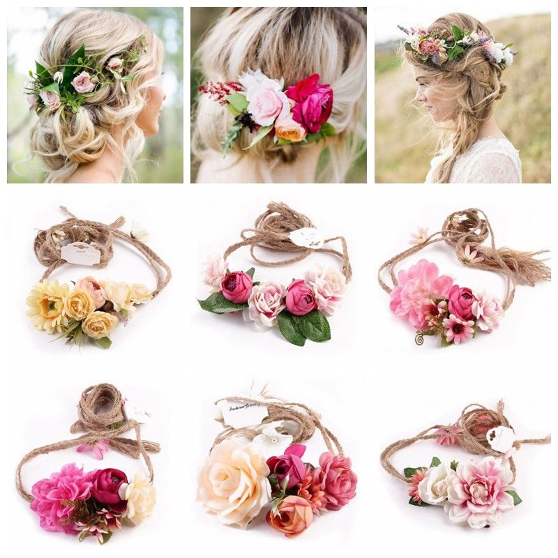 New fashion flower lady women rose hairband red/pink yellow hair ribbons accessories