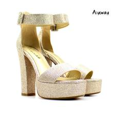 Aiyoway Sexy Women Ladies Peep Toe High Heel Platform Spring Summer Sandals Glitter Party Clubwear Dress Shoes Ankle Buckle
