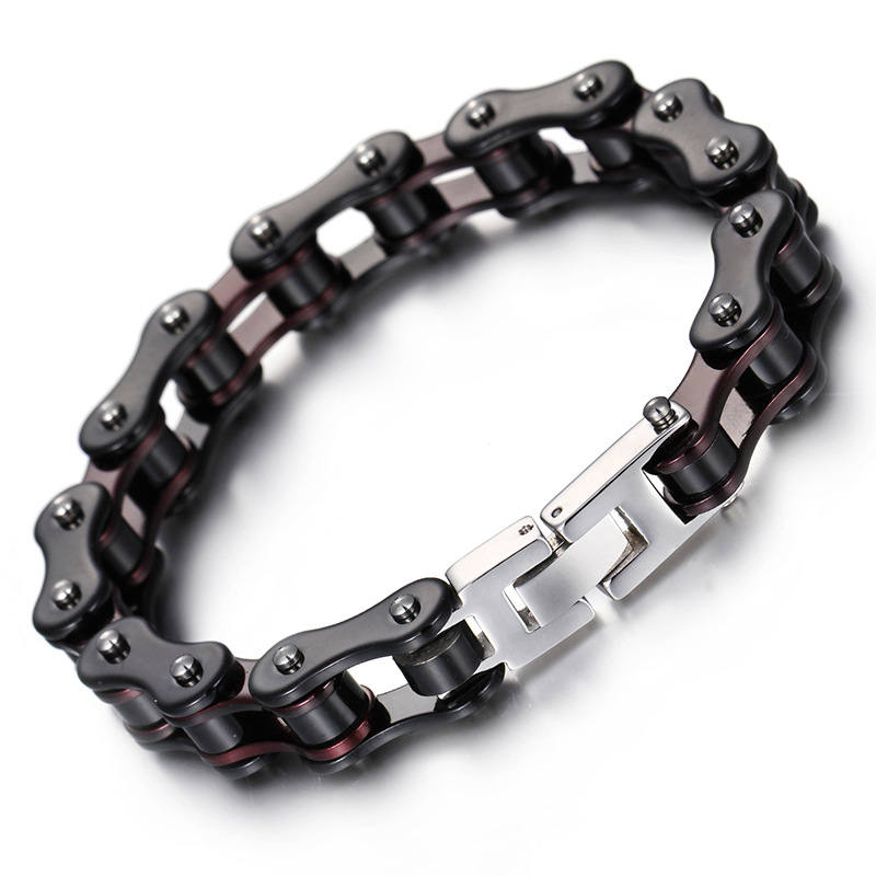 Fashion Punk Bike Chain Bracelet Black Silver Titanium Steel Trend Men Motorcycle Link Bicycle Bike Chain Bracelet Jewelry stylish pu leather chain titanium steel pendant punk necklace silver black