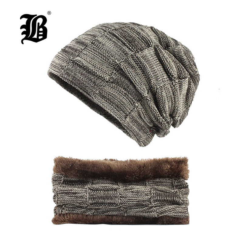 [FLB] Thick Warm Men Hats Scarf Cap Knitted Wool Winter Hat Beanie Men Caps Lady Neck Warmer Beanie Fashion Soft Women's F18030