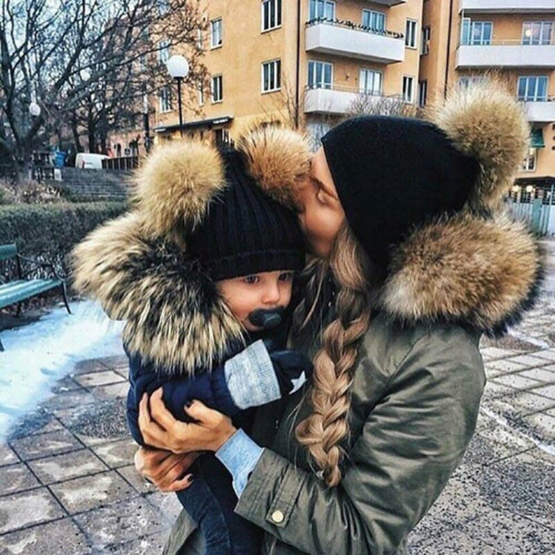 Family Matching Hats Sets Faux Fur Pompom Ball Baby Girls Boys Women Winter Warm Gorros Para Bebe Kids Knitted Beanies 2Pcs Hat