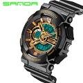 Reloj hombre 2016 sanda famous brand reloj deportivo hombres analógico digital led 5atm reloj del ejército militar moda hombre relojes de pulsera reloj