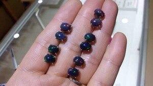 Image 3 - Speciale aanbieding nieuwe natuurlijke zwarte opaal oorbellen, eenvoudige stijl, 925 sterling zilver, hot koop
