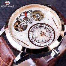 Forsining Tourbillion Reloj de pulsera para hombre, diseño de segunda mano, esfera pequeña, exhibición de moda, reloj de pulsera automático con calendario de lujo