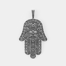 2pcs Antique Silver Large Hamsa Hand Heart Eyes Palm Charms Pendant For Necklace Jewelry Making Findings 70*40mm