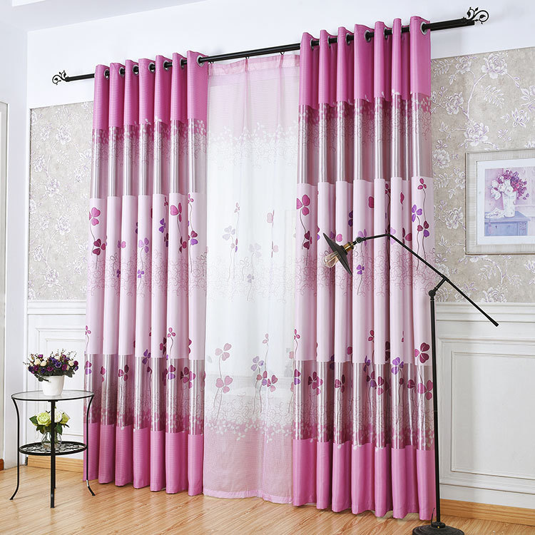 Pastoral Style Three leaf Clover Printed Curtain Blockout Cloth Curtain for Living Room Balcony