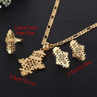 Sky tài năng bao Ethiopia 5.6 cm * 3.1 cm Mặt Dây Chain & Earrings & Nhẫn Set 24 k Vàng Châu Phi Corss Biểu Tượng Trang Sức Set Biến Áp