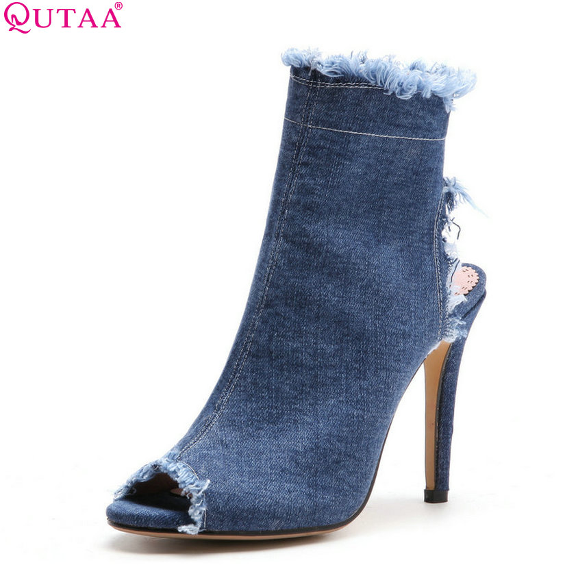 QUTAA 2018 Women Sandals Thin High Heel Peep Toe Denim All Match Sexy Women Shoes Out Door High Quality Women Sandals Size 34-43 high quality all transparent peep toe sandals women shoes 2018 new high heeled comfortable crystal lady shoes size 34 40