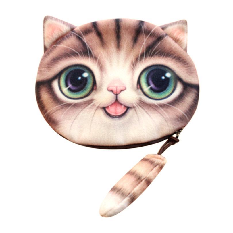 xiniu Women Cute 3D Print Cat Girls Tail Plush Coin Change Bag Zipper bags for women 2018 Mini Wallets monederos para mujer yiyohi cats come on 3d print cute cat zipper plush coin purse kawaii children bag women wallets mini change pouch bolsa