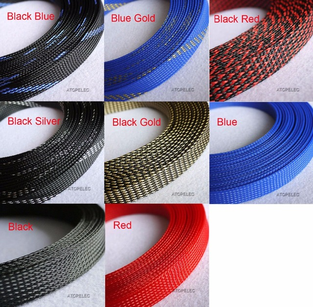 "20MM Wide 25/32"" Braided PET Expandable Sleeving Cable Wire Sheath Black/Red/Blue"
