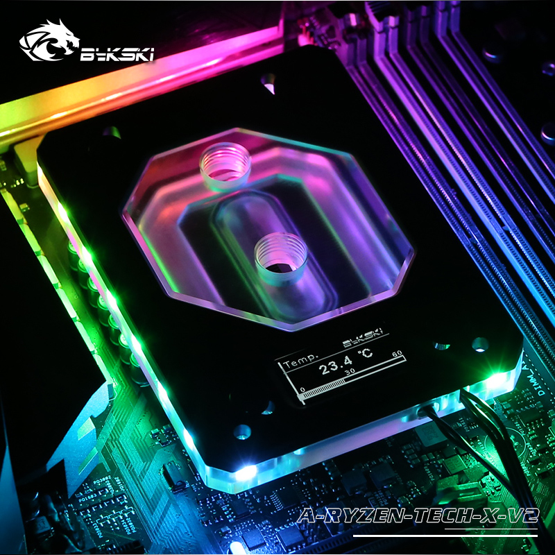 Bykski Black,Silver Water Cooling CPU Block use for AMD RYZEN AM3/AM4/X399 Temperature Display OLED,CPU Cooler A-RYZEN-TECH-X V2 image