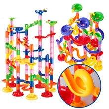105 шт DIY лабиринт шарики трек строительные блоки игрушки для детей строительство мраморный гоночный бег трубопровод блок образовательная игрушка-игра