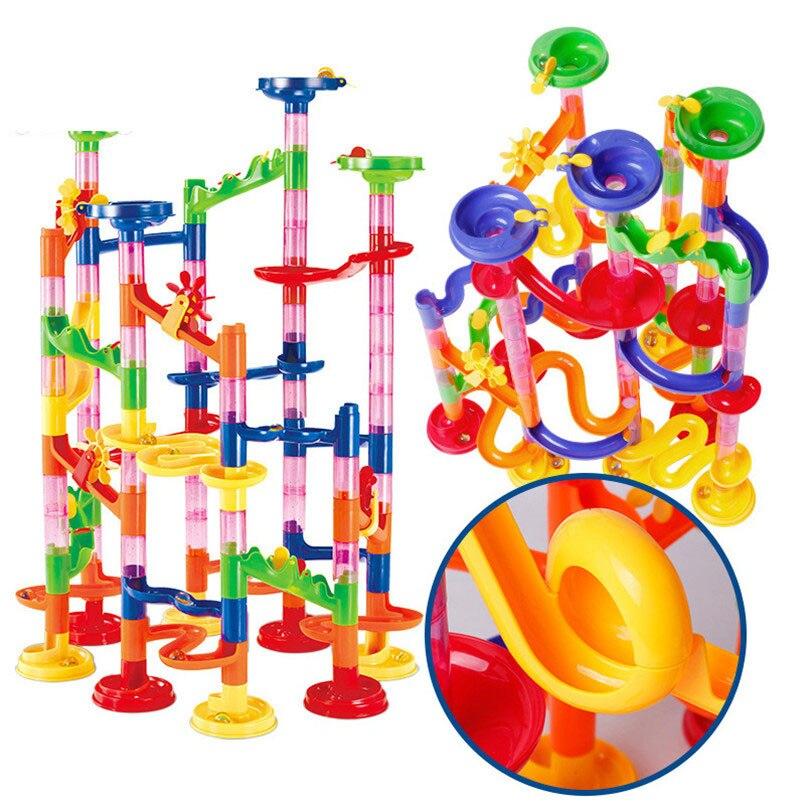105PCS DIY Labirinto Bolas Rastrear Blocos de Construção de Brinquedos Para Crianças Brinquedo Educativo Bloco de Construção Pipeline de Mármore Corrida Corrida Jogo