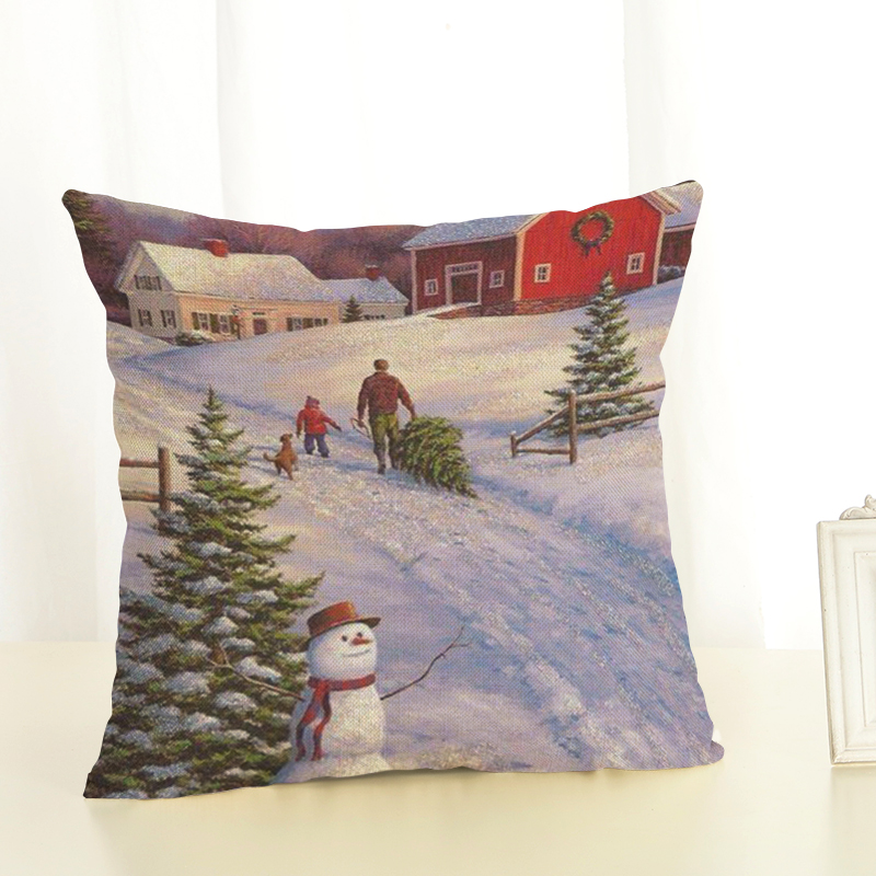 Hot Sale Christmas Cushion Cover Snow Printing Happy Day Joy Holiday
