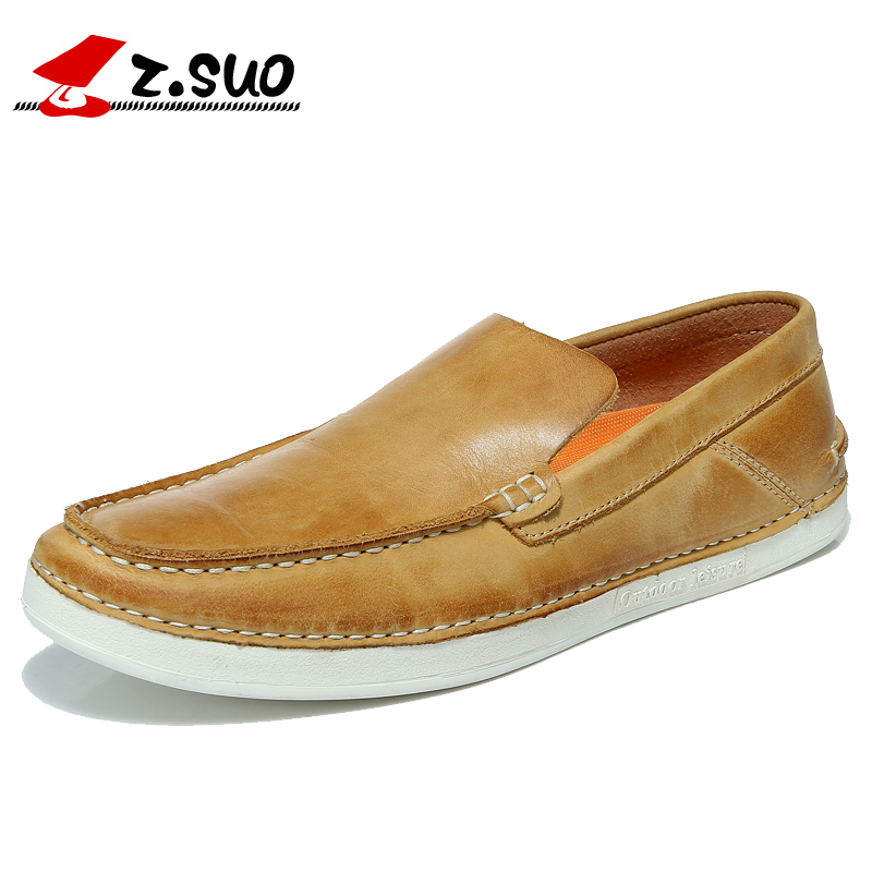 Z.SUO 2016 Spring Autumn Fashion Slip On Round Toe Flat Heel Solid Men's Leisure Shoes 100% Genuine Leather Casual Shoes ZS1502 fashion bow tie women shoes 2017 spring autumn slip on woman genuine leather single shoes solid casual flat shoes size 35 40