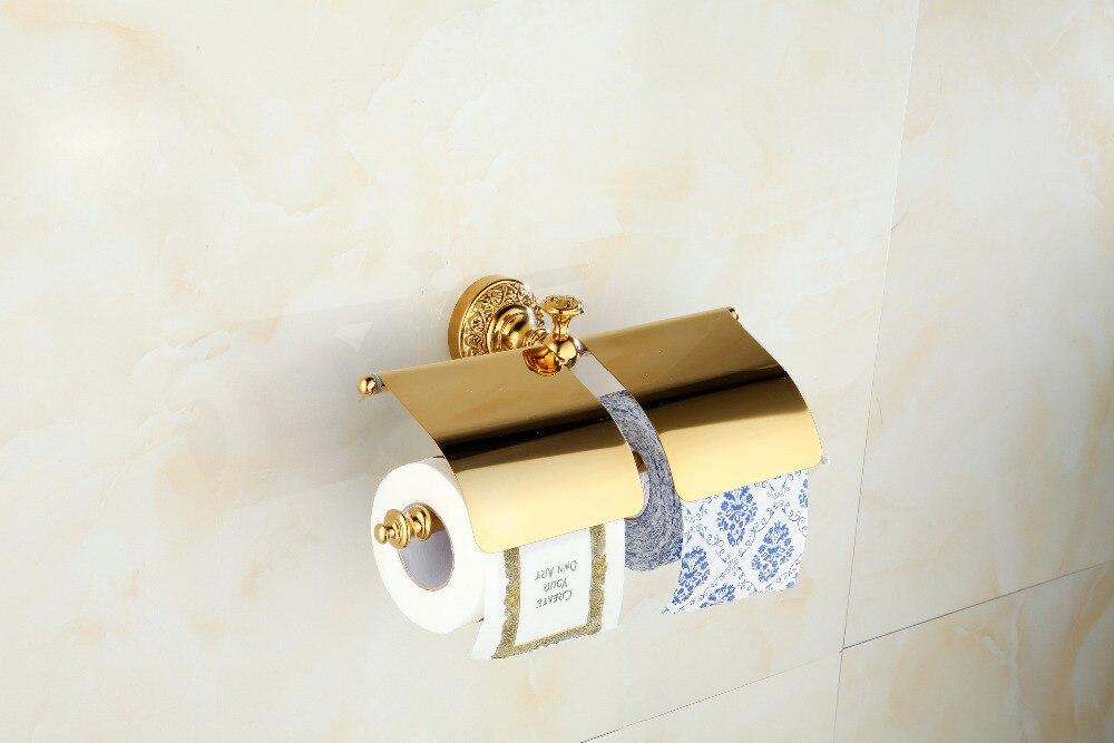 Luxury Golden Brass Bathroom Toilet Paper Holder Dual Roll