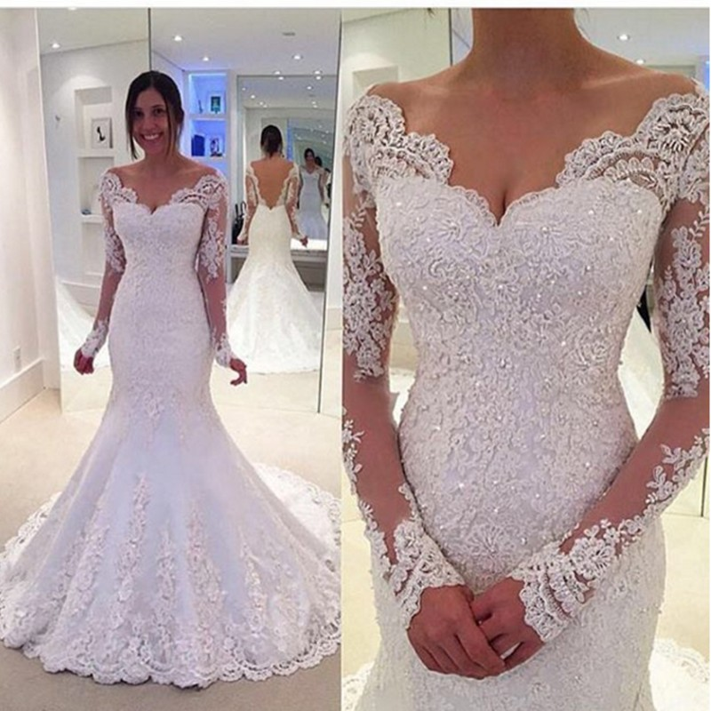 2019 New Long Sleeves Mermaid Wedding Dress Court Train Lace And Applique Bridal Dresses Gowns