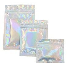 Цена ПЭТ голографическая пищевая сумка плоская молния замок сумки лазерная майларовая фольга мешок многоразовая Косметическая посылка сумка 100 шт