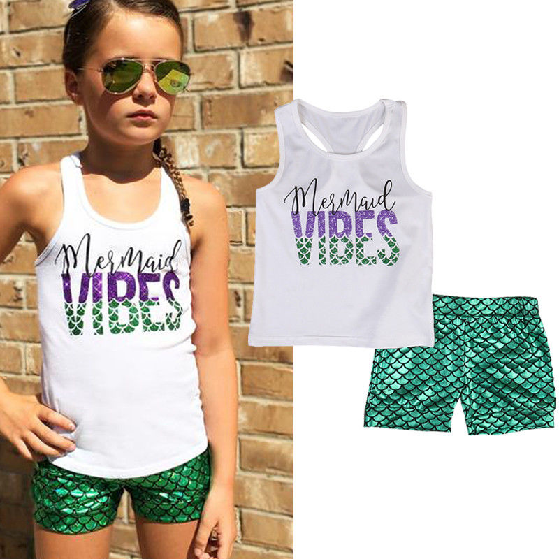 Toddler Girls Sparkly Shell Tank Vest Top+Mermaid Shorts Pants Headband Outfits