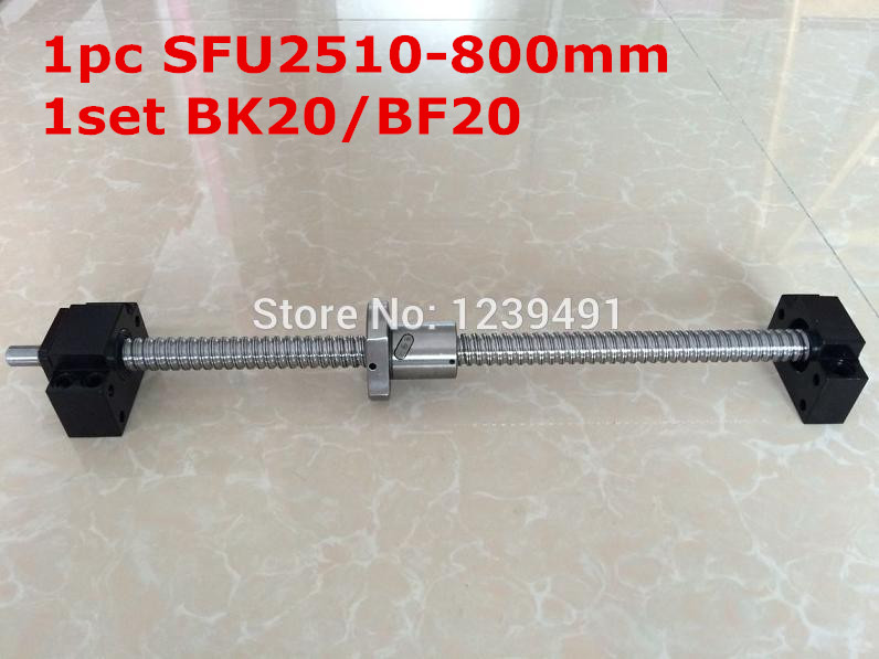 SFU2510 - 800mm ballscrew with end machined + BK20/BF20 Support CNC parts