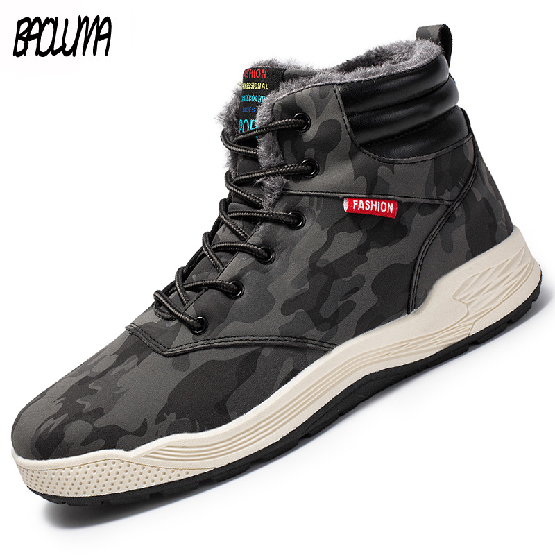 New Winter Men Snow Boots High Quality Plush Man Ankle Boots Snow  Slip On Warm Fur Lace-Up Male Winter Shoes Plus Size 39-47