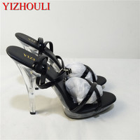 Women's Shoes Sexy Platform 12cm Ultra High Heels Steel Pipe Dance Sandals Black Fashion Ankle Strap Heels