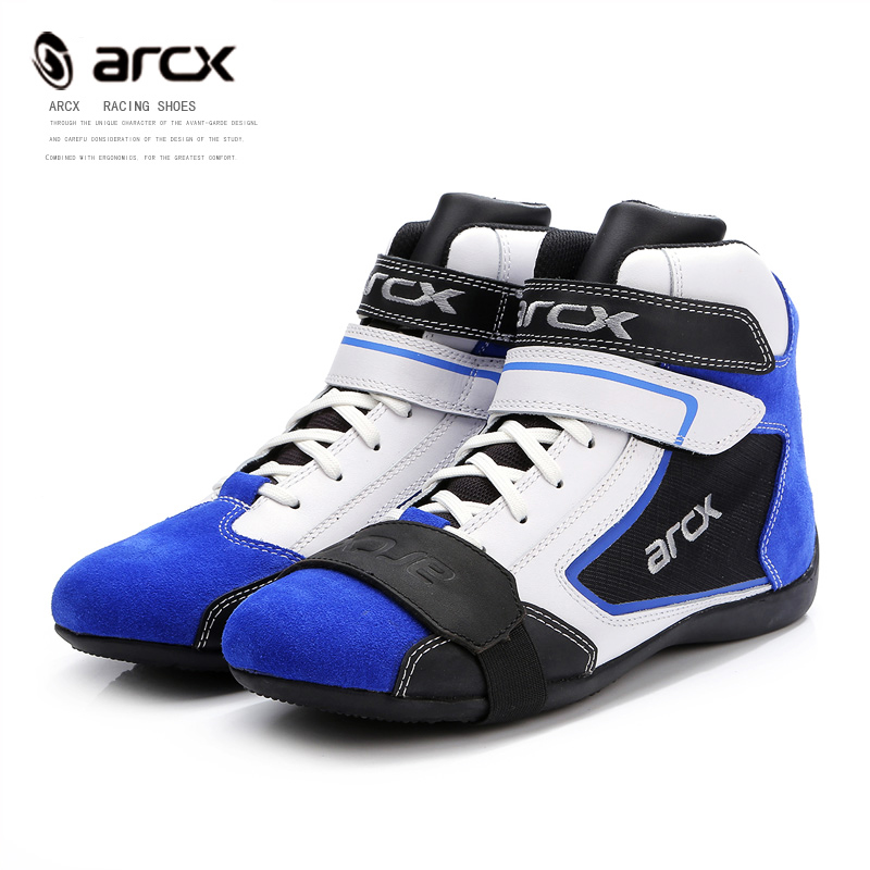 ARCX Leather Motorcycle Boots MotorBike boot Cruiser Touring shoes Ankle Locomotive Shoes Riding Street blue Motorcycle