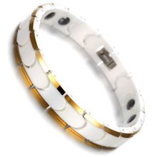 Ceramic Magnetic Hematite Mens Bracelet White & Gold Health Care Link Chain Jewelry B1405