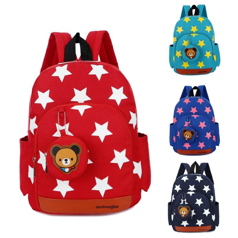 Boys Backpacks For Kindergarten Stars Printing Nylon Children Backpacks Kids Kindergarten School Bags For Baby Girls 1315